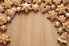 Homemade christmas cookies on wooden table Stock Image