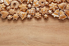 Homemade christmas cookies on wooden table Stock Photos