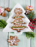 Homemade christmas cookies on wooden table Stock Photo