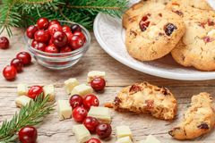 Homemade Christmas cranberry cookies Royalty Free Stock Photo