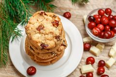 Homemade Christmas cranberry cookies Royalty Free Stock Photography