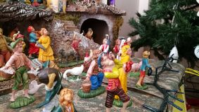 Homemade Christmas crib, Italy, Palermo Royalty Free Stock Photos