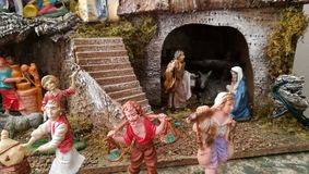Homemade Christmas crib, women details, home Royalty Free Stock Images