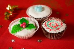 Homemade Christmas cupcake Stock Photo