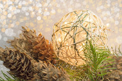 Homemade christmas decoration with light bulbs Royalty Free Stock Images