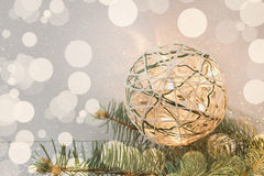 Homemade christmas decoration with light bulbs Royalty Free Stock Image