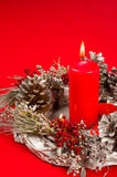 Homemade Christmas decoration on red Stock Photography