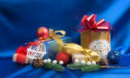 Homemade Christmas gift boxes royalty free stock image