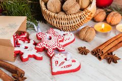 Homemade christmas gingerbread cookies and christmas decoration Stock Image
