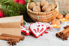 Homemade christmas gingerbread cookies and christmas decoration Royalty Free Stock Photo