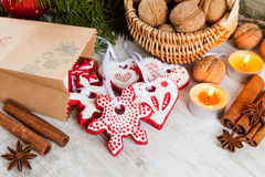 Homemade christmas gingerbread cookies and christmas decoration Stock Photos