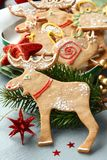 Homemade christmas gingerbread cookies with festive decoration Royalty Free Stock Photos