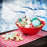 Homemade Christmas gingerbread cookies. Focus on gingerbread in the foreground Royalty Free Stock Photo