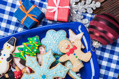 Homemade Christmas gingerbread cookies. On the plate Stock Photography