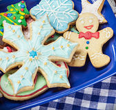 Homemade Christmas gingerbread cookies on the plate Stock Images