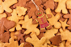 Homemade christmas gingerbreads and cingerbread mans, Christmas New Year background. Homemade christmas gingerbreads and cingerbread mans, Christmas or New Year Stock Photo