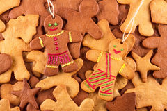 Homemade christmas gingerbreads and cingerbread mans, Christmas New Year background. Homemade christmas gingerbreads and cingerbread mans, Christmas or New Year Royalty Free Stock Photo