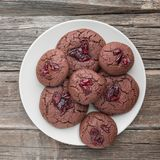 Homemade chocolate cookies on wooden table background. stock image