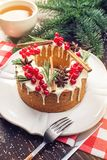 Homemade Christmas or New Year holiday berry cake decorated currants and rosemary. Concept of festive desserts. Homemade Christmas or New Year holiday berry cake stock photos