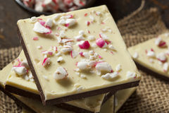 Homemade Christmas Peppermint Bark Dessert. With White Chocolate stock image