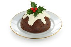 Homemade christmas pudding Stock Photos