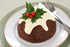 Homemade christmas pudding Royalty Free Stock Photos