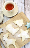 Homemade Christmas shortbread biscuit cookies with tea - aerial Royalty Free Stock Images