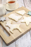Homemade Christmas shortbread biscuit cookies with tea Royalty Free Stock Photography