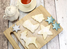 Homemade Christmas shortbread cookies with tea - aerial Stock Photography