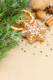 Homemade christmas spice cookies, nuts, green fir tree branch on Royalty Free Stock Photography
