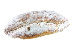 Homemade Christmas stollen cake isolated on white Stock Images