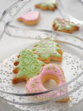 Homemade Christmas sugar cookies glazed with royal icing. Christmas tree biscuits. Selective focus Stock Photos