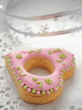 Homemade Christmas sugar cookies glazed with royal icing. Christmas tree biscuits. Selective focus Royalty Free Stock Photos