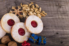 Homemade Christmas sweets with jam Royalty Free Stock Photos