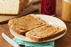 Homemade Chunky Peanut Butter Sandwich Stock Photo