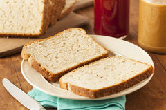 Homemade Chunky Peanut Butter Sandwich Stock Photos