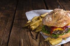Homemade Ciabatta Beef Burger Stock Photography