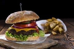 Homemade Ciabatta Beef Burger Stock Images