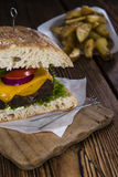 Homemade Ciabatta Burger Stock Photo