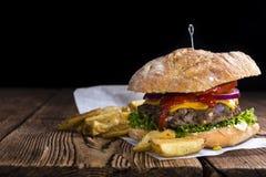 Homemade Ciabatta Burger Stock Photo