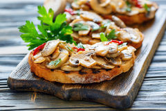 Ciabatta grilled with fried mushrooms and onions. Royalty Free Stock Image
