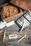 Homemade cigarettes made ​​with tobacco Stock Image