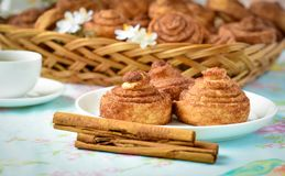 Homemade cinnamon buns cakes Royalty Free Stock Photo