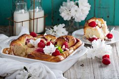 Homemade cinnamon raspberry rolls Royalty Free Stock Photo