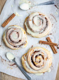 Homemade cinnamon rolls with cream cheese glaze Royalty Free Stock Photo