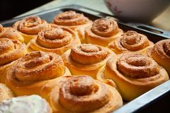 Sweet homemade cinnamon rolls baked with love Royalty Free Stock Photos