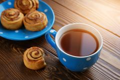 Homemade cinnamon rolls lie on a blue plate on a wooden table. Nearby is a mug of black tea and a bitten-off bun. Healthy organic stock photo