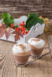 Homemade cinnamon and spice hot cocoa with whipped cream. Thanks Stock Photography