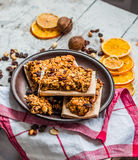 Homemade citrus granola protein bars with peanut butter, honey, Stock Photos