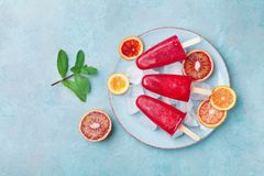 Homemade citrus ice cream or popsicles decorated mint leaves and orange slices on blue table from above. Frozen fruit juice. Stock Images